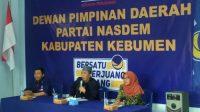 Ketua DPD Nasdem Kebumen Awaludin Chamid menyampaikan sambutan. (Foto: Istimewa)