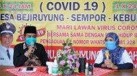 Ketua Stikes Muhammadiyah Gombong Hj Herniyatun MKep Sp Mat bersama Kades Bejiruyung Sopingi saat diskusi online. (Foto: Istimewa)