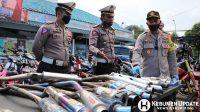 Puluhan knalpot racing diamankan Satlantas Polres Kebumen. (Foto: Istimewa)
