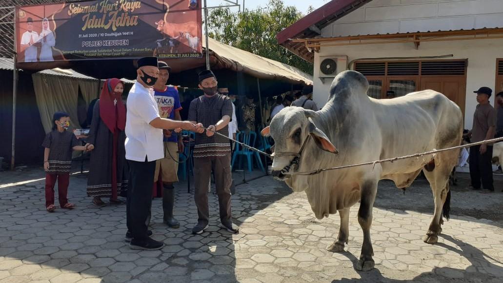 Kapolres melihat proses pemotongan sapi. (Foto: Polres Kebumen)