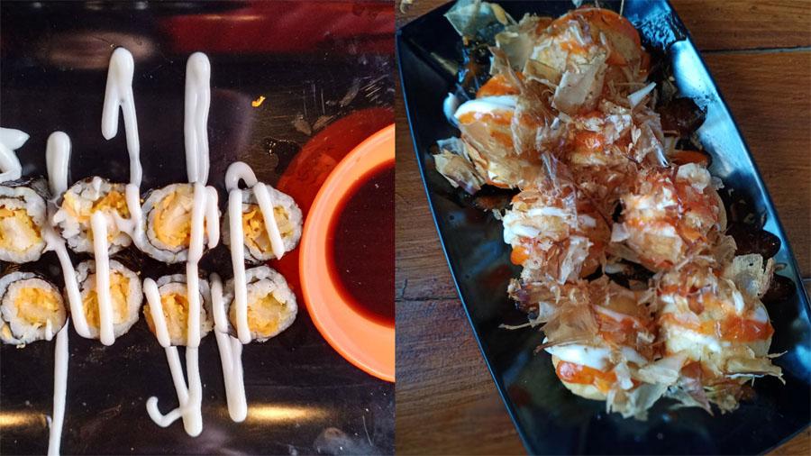 Sushi Mayo dan Tapoyaki di Waroenk Ramen Kebumen. (Foto: KebumenUpdate)
